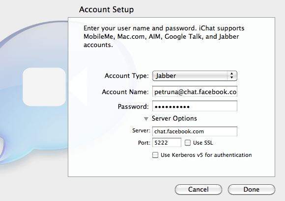 Facebook chat with iChat